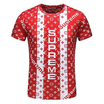 Supreme & LV Louis Vuitton joint series summer men and women round neck short sleeve F-A00FS-GJ Red