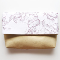 IMPRINT/ Floral satin & white gold folded clutch