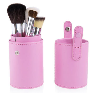 7 Pcs Makeup Brush Set with Candy Color Leather Case