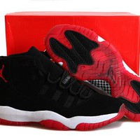 Cheap Nike Air Jordan 11 Bred Nubuck Black Red Shoes Hot Sale