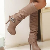 New Women Brown Round Toe Stiletto Buckle Fashion Knee-High Boots