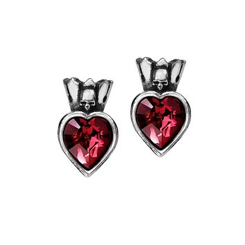 Love and Loyalty Skull Red Heart Ear studs