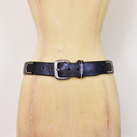 Vintage 90s 70s Black Leather Belt Distressed Leather Wide Belt Cinch Waist Belt 70s Belt Hippie Belt Boho Belt Grunge Belt Women 30 XS S