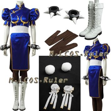 Street Fighter Chun Li Costume with Accessories Cosplay Street Fighter Cosplay Chun Li Outfit Dress Custom Made Halloween Cloth