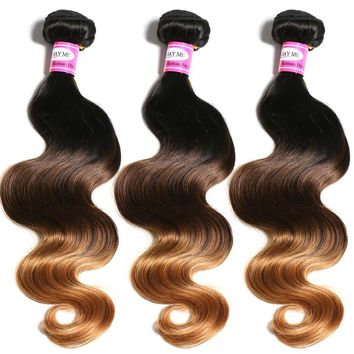 SAY ME Ombre Brazilian Hair Body Wave 1b/4/30 Human Hair Weave Bundles Can Buy 3 or 4 Bundles 3 Tone Non Remy Hair Extensions