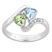 Couple's Heart-Shaped Simulated Birthstone and Diamond Accent Engraved Ring in Sterling Silver (2 Stones, 1 Line)