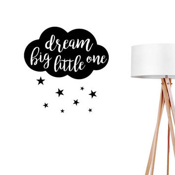 Dream Big Little One Wall Decals, Typography Wall Stickers, Kids Sticker, Typography Decal, Nursery Decal, Nursery Decor, Dream Sticker