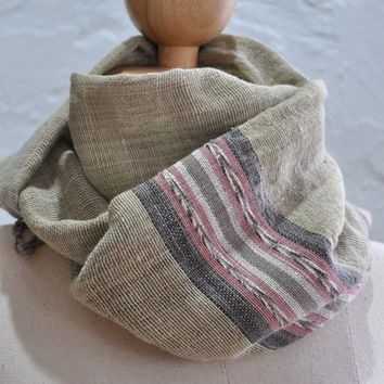 100% organic hand spun hand woven cotton shawl / scarf in green color with stripe