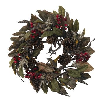 Christmas Wreath -24 Inch Pinecone Berry and Feather Door Wreath