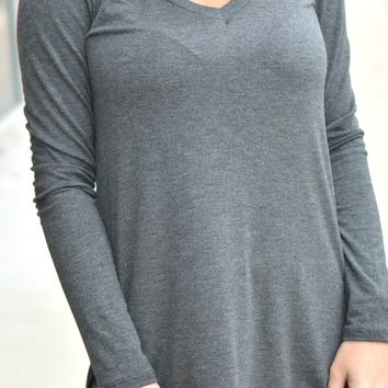 Simply Sweet Top Long Sleeve - Charcoal