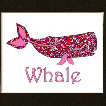 Pink Whale Print - Nursery Art - Sea Life - Coastal Print - Sea Creatures - Beach House Wall Art - Coastal Decor - Nautical Art