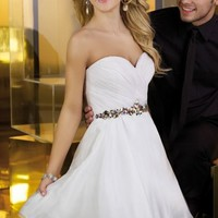 Beaded Ruched Strapless Dress by Alyce Sweet 16