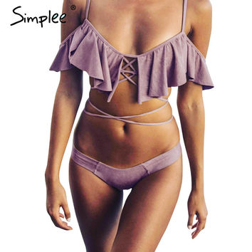 Simplee Off shoulder ruffle tassel bikini Sexy summer beach hollow out set swimsuit Print padded bow women bikini swimwear