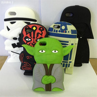 Best sell 3d cute cartoon star wars style soft silicone mobile phone case back cover for iPhone 5 5s 6 6s 4.7 5.5 inch plus