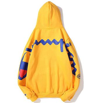 Champion joint name Supreme 2018 autumn and winter new couple models long-sleeved hooded sweater Yellow