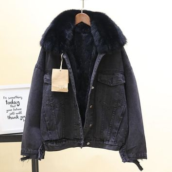 Trendy Winter Cotton Coats Womens Removable Real Rabbit Hair Liner Warm Denim Jacket Thickened Loose Coats Natural Fox Fur Collar AT_94_13