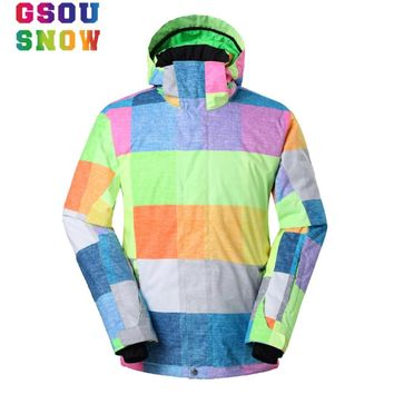 Gsou Snow Ski Jacket Men Winter Hooded Sport Jacket Waterproof Snowboard Jacket Outdoor Skiing Snowboarding Waterproof Men Coat