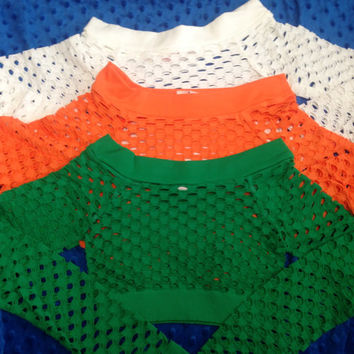 Mesh Long Sleeve Crop Tops (9 colors to choose from) Cheerleading/Dance Ribbon
