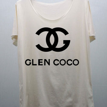 GLEN COCO T Shirts Cream handmade silk screen printing Size M and L
