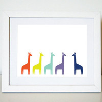 Colourful Giraffes 8 x 10 Art Print/Wall Art - Baby Nursery Decor and Children's Room Decor