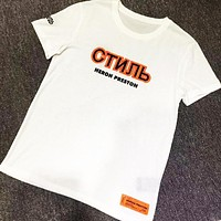 Heron Preston Tide brand CTNNB letter round neck short sleeve loose T-shirt white
