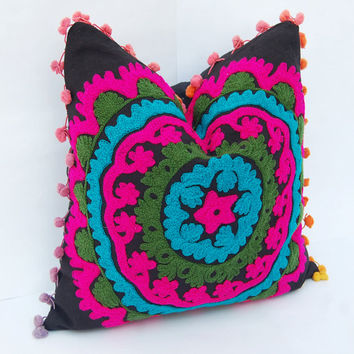 Indian Handmade Embroidered Cushion Covers Suzani Cushion Covers Decorative Pillows Turkish Designs Cute Gift Traditional Ethnic Handcrafted