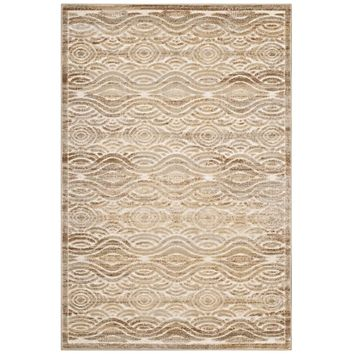Kennocha Rustic Vintage Abstract Waves 5x8 Area Rug Tan and Cream R-1097A-58