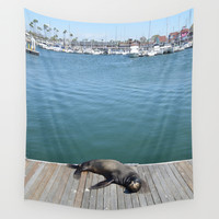 Sea Lion Smile Wall Tapestry by RichCaspian