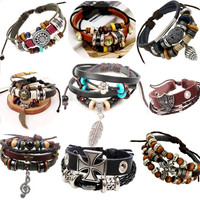 1P Retro rope leather mens bracelets leather rope hand woven bracelet for men rope braided bracelet male female bracelet Jewelry