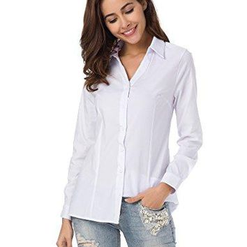 MOQUEEN Womens Deep V Button Down Shirts Casual Long Sleeve Basic Simple Blouse Tops