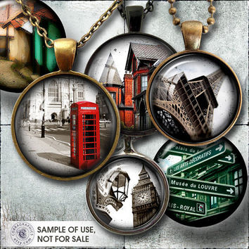 Urban Objects Digital Collage Sheets CG-814C - 20mm, 18mm, 16mm, 14mm, 12mm circles - Printable Downloads for Jewelry Making, Bottle Caps