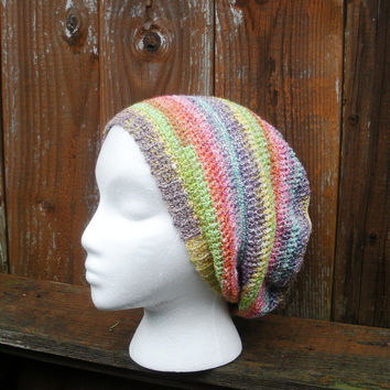 Pastel Rainbow Striped Crochet Slouchy Tam Beanie Hat Spring fashion, ready to ship.