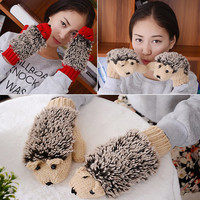 fashion Women Winter gloves Fur Mittens Cartoon Hedgehog fur heated gloves warm knitted gloves fleece