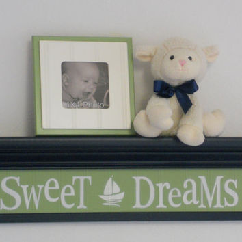 "Navy and Green Nursery Nautical Wall Decor  - Sweet Dreams - Sign on 24"" Dark Navy Blue Shelf with Green Sailboat Nursery Wall Art"
