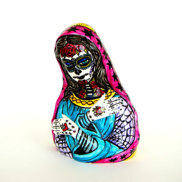 Madonna Planter Day of the Dead Tattoo Hand Painted Mary Dia de los muertos Sugar Skull Spiderwebs Sacred Heart Pink Turquoise Yellow Purple