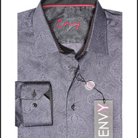 Envy Men's Long Sleeve Button Down Paisley Dress Shirt 51011-01