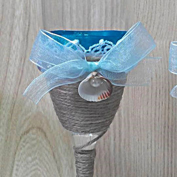 Marine Wedding glasses, Marine glasses, Champagne glasses and paddle cake. Handmade. Wedding Champagne Glasses.  Rustic Wedding