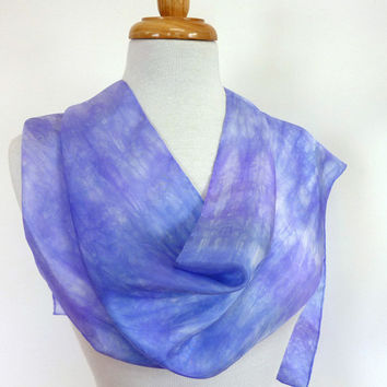 Lavender Blue Silk Scarf -Hand painted Silk Scarves. Purple Summer Fashion
