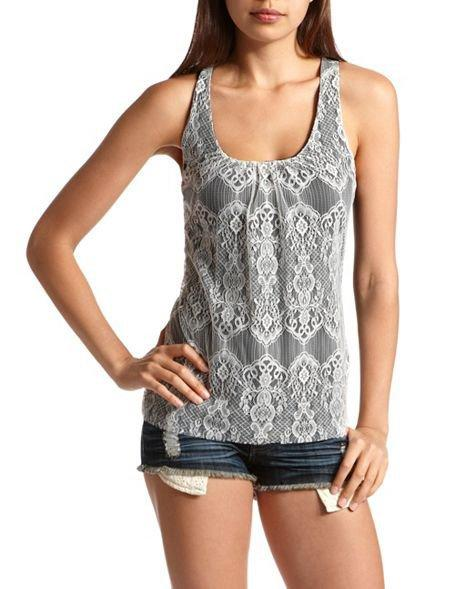 Lace Front Bow Back Tank