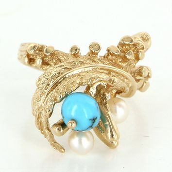 Vintage Turquoise Cultured Pearl Leaf Cocktail Ring 14 Karat Yellow Gold Estate Fine