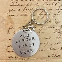 Hamilton The Musical Story Of Tonight You Are The Worst Burr Stamped Charm Keychain