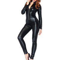 Leg Avenue Costumes Wet Look Zipper Front Cat Suit, Black, X-Large