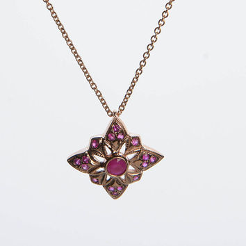 Gem Pendant necklace - Vintage Style Rhombus Pendant with Ruby on a Chain in 14K Rose Gold - Gift for her