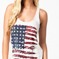 White American Flag Print Sleeveless Tank