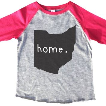 Ohio Is Home BOYS OR GIRLS BASEBALL 3/4 SLEEVE RAGLAN - VERY SOFT TRENDY SHIRT B283