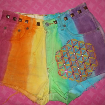 Rainbow Bling Color Therapy Flower of life High Waisted Vintage Shorts