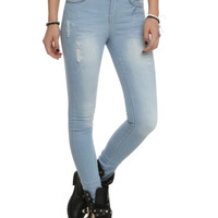 ChiQle Light Blue High-Waisted Skinny Jeans