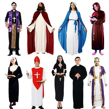 Women Men Child Nun Priest Costume Adults Jesus Virgin Mary Cosplay Costumes  Masquerade Party Dress Halloween Christmas Purim
