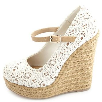 Crocheted Lace Mary Jane Espadrille Wedges
