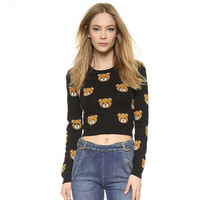 Teddy Bear Printed Long Sleeves Jacquard  Crop Knitted Sweater